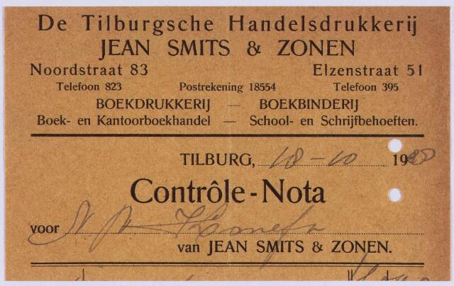 """061115 - Briefhoofd. Nota van de Tilburgsche Handelsdrukkerij Jean Smits & Zonen, uitgave van het """"Tilburgsch Weekblad"""", Noordstraat voor Komefa"""