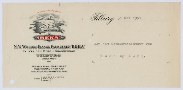 """059548 - Briefhoofd. Briefhoofd van N.V. Wollen- Flanel Fabrieken """"Beka"""" v/h/ Van den Bergh Krabbendam"""