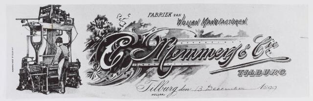 019236 - Textielindustrie. Briefhoofd van wollenstoffenfabriek C. Mommers. De machine links is een jacquard weefgetouw