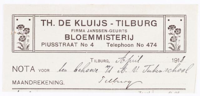 060616 - Briefhoofd. Nota voor Th. de Kluijs-Tilburg, Firma Janssen-Geurts, Bloemmisterij, Piusstraat 4 voor de tekenschool Tilburg