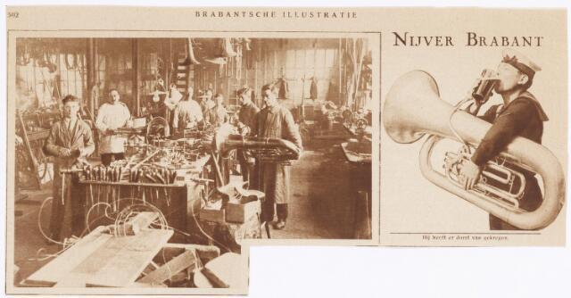 038352 - Krantenknipsel over  Koninklijke Nederlandsche Fabriek van Muziekinstrumenten KONEFA met afdeling blaasintsrumenten