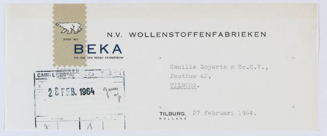 """059553 - Briefhoofd. Briefhoofd van N.V. Wollen- Flanel Fabrieken """"Beka"""" v/h/ Van den Bergh Krabbendam"""