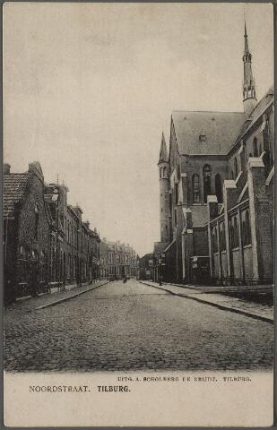 010227 - De Industriestraat, later Hart van Brabantlaan, met de kerk van het H. Hart (Noordhoek).