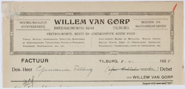 060189 - Briefhoofd. Nota van Willem van Gorp, meubelmagazijn, Bredascheweg 62-64  voor Gemeente Tilburg