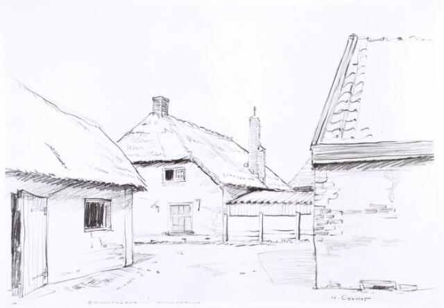 016723 - Tekening. Tekening van H. Corvers van de binnenplaats van een boerderij aan de Broekstraat (voorheen Zandstraat).
