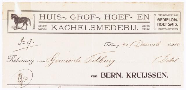 060521 - Briefhoofd. Nota van Bern. Kruijssen, huis-, grof-, hoef-, en kachelsmederij, voor de gemeente Tilburg