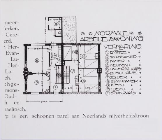 042197 - Volkshuisvesting. Plattegrond van een ´normale´ arbeiderswoning, zoals die werden gebouwd in de eerste helft van de vorige eeuw