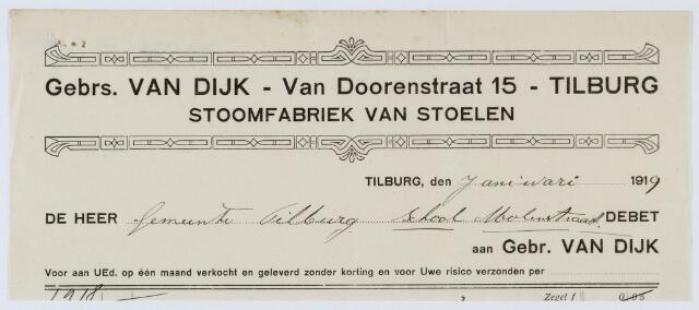 060014 - Briefhoofd. Nota van Gebrs. Van Dijk - Van Doorenstraat 15, Stoomfabriek van Stoelen voor de gemeente Tilburg