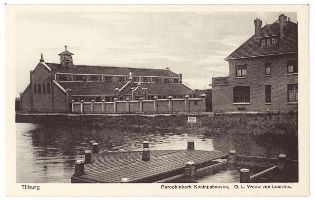 000719 - Hoevenseweg, parochiekerk Koningshoeven, O. L. Vrouw van Lourdes, geopend in 1921. Deze kerk was gevestigd in een oud fabriekspand.