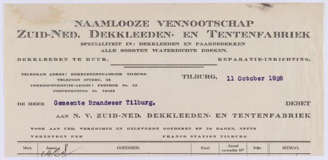 061465 - Briefhoofd. Nota van N.V. Zuid-Ned. Dekkleeden- en Tentenfabriek, voor de brandweer van de gemeente Tilburg