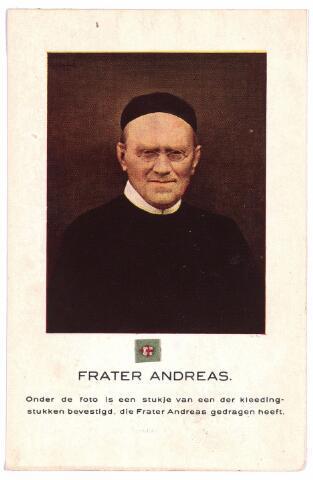 003685 - Gedachtenisprentje met foto en reliek. Frater ANDREAS geboren Udenhout 1841, overleden Tilburg 1917, kloosternaam van Johannes van den BOER.