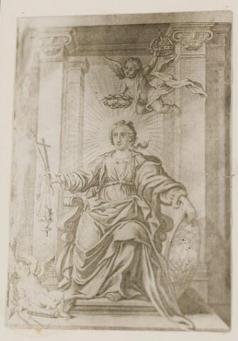"""073334 - Foto van gravure (reproductie) van een """"Heilige"""" figuur mat attributen (kruis, staf, wierookhouder en een schild of bord). 1664"""