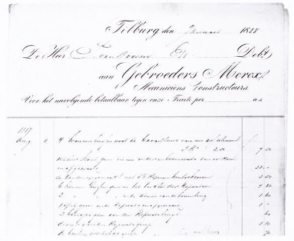 060705 - Briefhoofd. Nota van Gebroeders Mercx voor de heer P. van Dooren te Tilburg