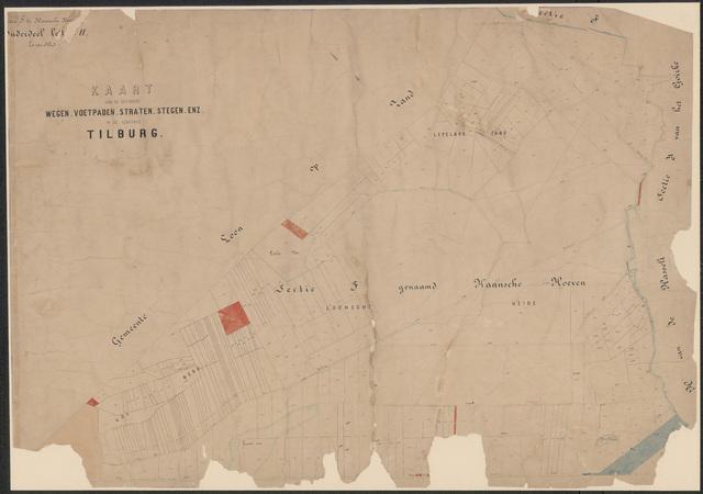 652649 - Wegenlegger. Kaart van de openbare wegen, voetpaden, straten, stegen, etc. Tilburg, Sectie F (Haansche Hoeven), blad 1. Schaal 1:5000. Ongedateerd.