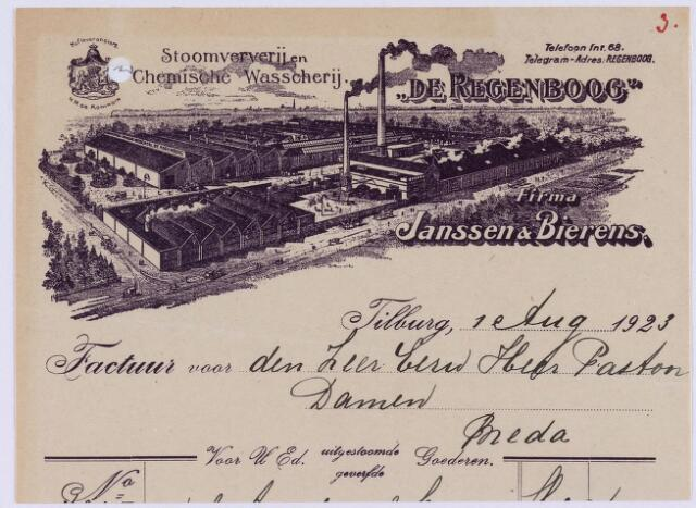 """060956 - Nota van """"De Regenboog"""", Janssen & Bierens N.V., Textielverij en Apprêtuur, Spoorlaan 110 voor pastoor Damen te Breda"""