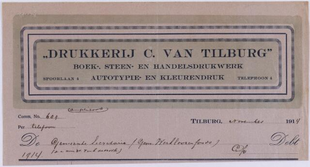 "061222 - Briefhoofd. Nota van ""Drukkerij C. van Tilburg"", boek-, steen- en handelsdrukwerk, Spoorlaan 4 voor gemeente Tilburg"
