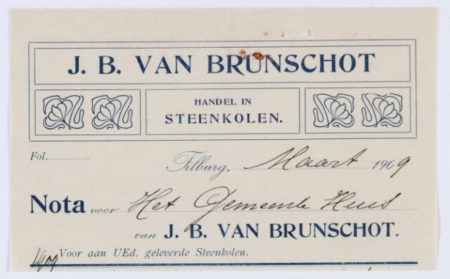 059798 - Briefhoofd. Briefhoofd  van J. B. van Brunschot, Spoorlaan , Handel en Gros in Steenkolen- Anthracit enz.