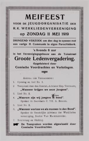 040968 - Vakbeweging. programma meifeest voor de jeugdorganisatie r.k. Werkliedenvereniging afd. Tilburg, 11-05-1919.