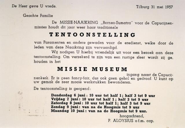071390 - Uitnodiging voor de tentoonstelling in het missiemuseum van de capucijnen aan de Korvelseweg, georganiseerd door missie-naaikring Borneo-Sumatra voor de missie van de capucijnen.