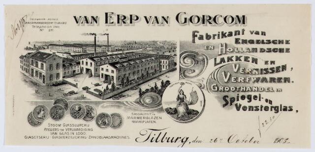 060049 - Briefhoofd. Briefhoofd van Van Erp Van Gorcom, fabrikant van Engelsche en Hollandsche lakken en vernissen, verfwaren. Groothandel in spiegel- en vensterglas