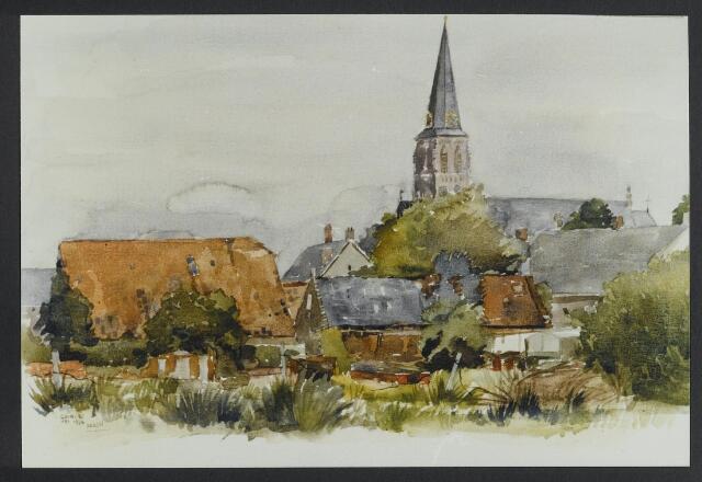 """072160 - Aquarel. Frater Paschalius """"Goirle in aquarel"""": achterzijde van de Bergstraat met links de schuur die hoorde bij de boerderij van Van Erven (boer Pul)."""