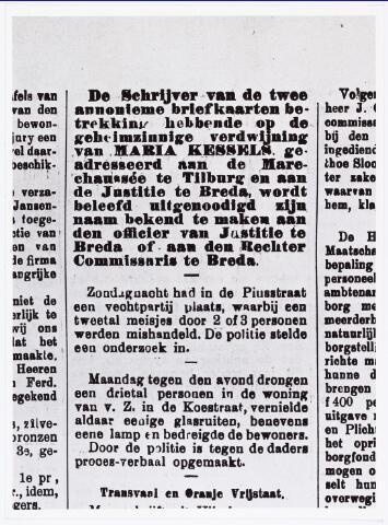 007238 - De tragische dood van Marietje Kessels heeft veel mensen geinspireerd tot gedichten, anonieme brieven en briefkaarten. Deze tekst is uit de Nieuwe Tilburgsche Courant van 6 september 1900.