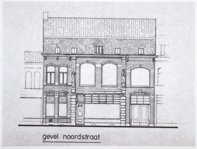 """027235 - Foto van tekening. Linkergedeelte van deze bouwtekening is pand Noordstraat 105, waar eind 1923 de muziekschool """"ingericht volgens de regelen der paedagogiek"""" een eerste behoorlijke huisvesting kreeg. Zie Fr. van Puijenbroek, Tilburgse Toonzettingen, p. 67."""