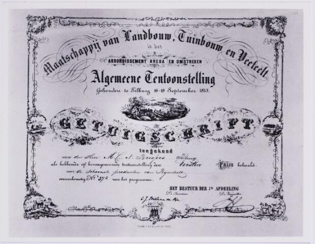 006645 - M.C.N. Bressers had in de Monumentenstraat een fabriek van kaarsen, handbogen en pijlen. een honingbrekerij en een wasblekerij. Tevens verkocht hij kruidenierswaren. Op de algemene tentoonstelling van de Maatschappij van Landbouw, Tuinbouw en Veeteelt, in 1873, behaalde hij de eerste prijs voor de ´schoonste produkten van bijenteelt´.