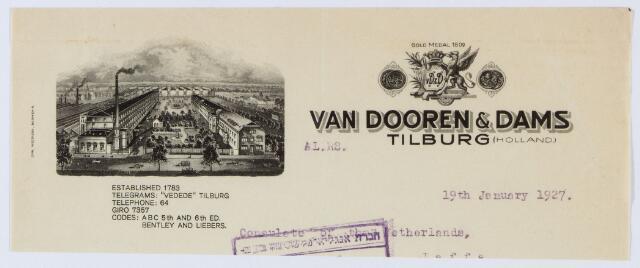 059970 - Briefhoofd. Briefhoofd van Van Dooren & Dams