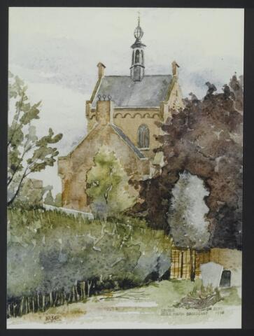 """072162 - Aquarel. Frater Paschalius """"Goirle in aquarel"""",  parochiekerk Maria Boodschap aan de Tilburgseweg met op de voorgrond het kerkhof."""