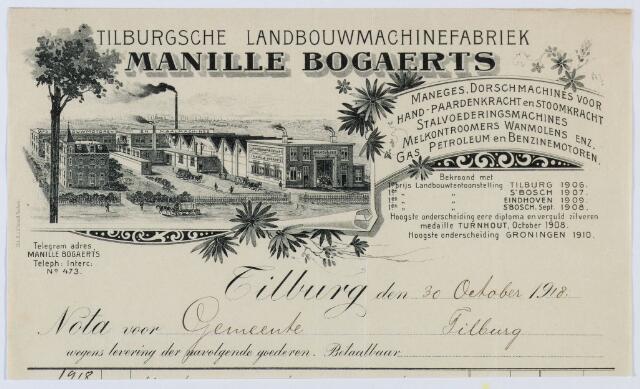 059661 - Briefhoofd. Nota van Manille Bogaerts, Tilburgsche Landbouwmachine- & Motorenfabriek (BM) Broekhovenseweg 160, voor de gemeente Tilburg