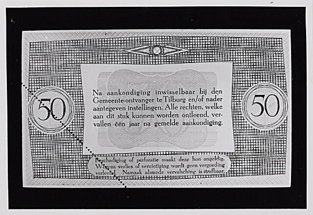 012489 - Tweede Wereldoorlog. Noodgeld. Achterzijde van een biljet van ƒ 50,-, door de gemeente Tilburg achter de hand gehouden voor noodgevallen