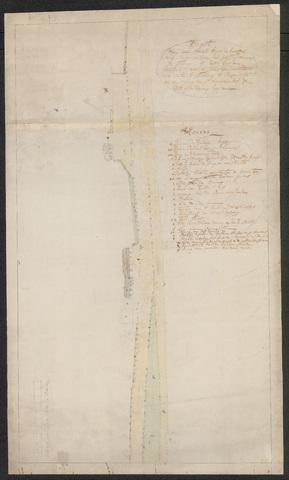 652562 - Kaart van een straat lopende beneffens de huizinge en erven van Josephus Nouwens te Tilburg op het Goorken.