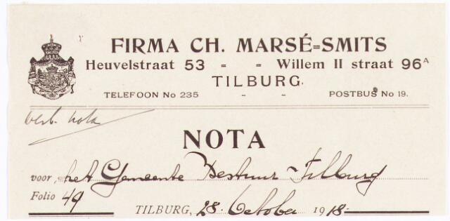 060663 - Briefhoofd. Nota van Charles Marsé-Smits-Tilburg, compleete keukeninstallaties. Heuvelstraat 53 voor de gemeente Tilburg