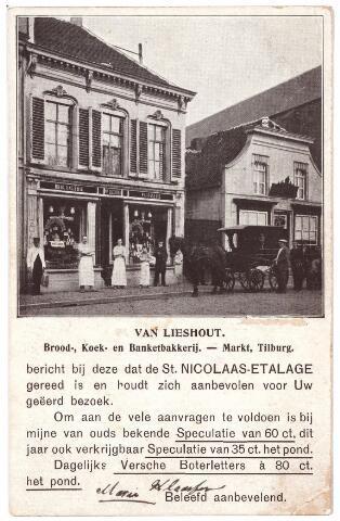 001818 - Oude Markt  voorheen Markt. Links het pand M45 vanaf 1910 nr. 26. Dit wordt in augustus 1936 huisnummer 28. Rond 1900 woonde in dit pand Josephus Wilhelmus van Lieshout, geboren te Tilburg op 26.2.1876 en getrouwd met Johanna Maria Dumoulin. Hij was brood- en banketbakker en handelde ook in suikerwerken. Boven de winkelpui staat, dat klonk deftig, boulangerie en patisserie.  Op 17.5.1916 verhuisde Van Lieshout naar Utrecht. Rond 1900 kwam men door de poort op het adres M45a, daar zat G.A. van den Eertwegh, 'fabrikant van gloeikousjes'. Rechts de herberg van de weduwe Hersmus-van Heugten.