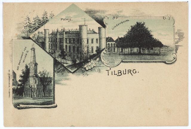 003100 - Van links naar rechts de gedenknaald van koning Willem II op de hoek van de Paleisstraat, het 'paleis', later Rijks H.B.S. Willem II en daarna paleis-raadhuis en de lindeboom op de Heuvel.