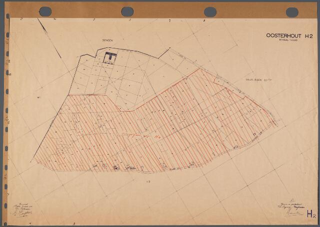 104770 - Kadasterkaart. Kadasterkaart Oosterhout Sectie H2, Schaal 1: 2.500, waarvan een gedeelte is overgegaan naar H4