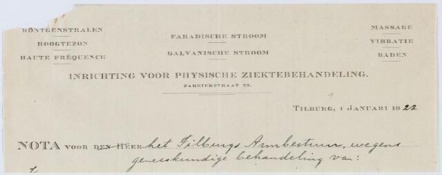 060352 - Briefhoofd. Nota van Inrichting voor Physische Ziektebehandeling , Fabriekstraat 22, voor het Tilburgs Armbestuur