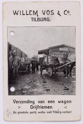 043574 - Reclamekaart van firma Willem Vos & Co., gevestigd aan de Goirkestraat 111. Hij was fabrikant van- en handelaar in drijfriemen en technische lederwaren.