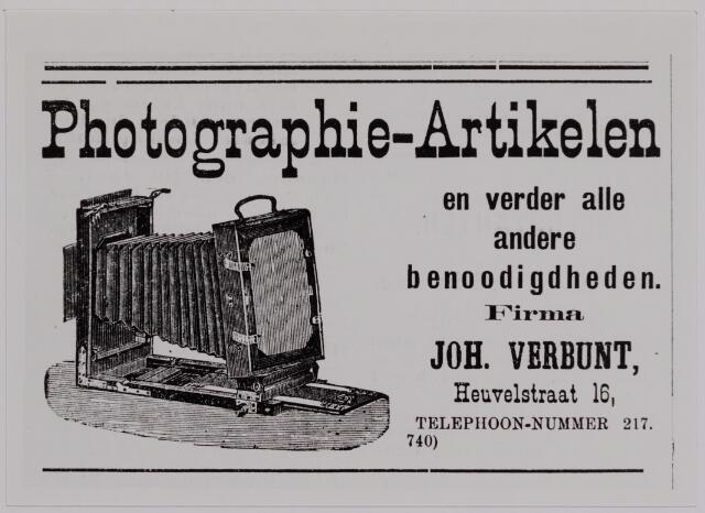 040182 - Advertentie van de firma Joh. Verbunt in de Tilburgsche Courant
