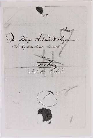 041654 - Postbrieven. Envelop vaneen bruef uit  Delfshaven gericht aan Adriaan van der Willigen, secretaris te Tilburg.