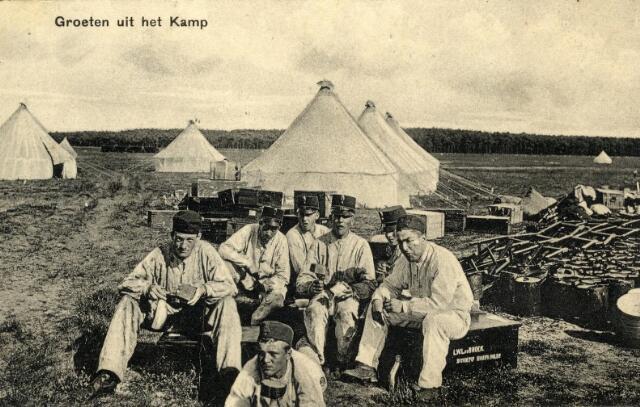 601002 - Eerste Wereldoorlog. Mobilisatie van het Nederlandse leger. Het legerkamp bij Rijen.