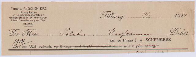 061034 - Briefhoofd. Nota van Firma J.A. Schenkers, stoom-, leder- en leestklaarschoenfabriek voor Politie van Tilburg