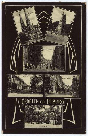 003131 - Kaart met Jugendstil versiering. Bovenaan de St. Jozefkerk aan de Heuvel en de gedenknaald voor koning Willem II, vervolgens de Willem II-straat, de Heuvel en de Heuvelstraat en onderaan de St. Josephstraat.
