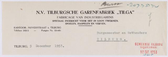 """061256 - Briefhoofd. Nota van N.V. Tilburgsche Garenfabriek """"Tilga"""", Nijverstraat 4 voor de gemeente Tilburg"""