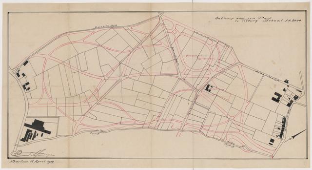 652524 - Ontwerp voor een park (Leijpark), zwart/wit. Tekening van Leonard Springer. Tek. 28/4/1920. Met contouren park in rode inkt. Gesigneerd.