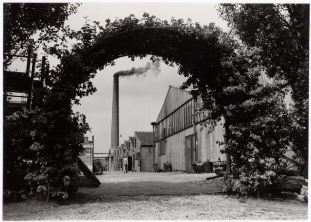 """038645 - Volt.Zuid. Gebouwen. Ca. 1950. Doorkijk vanuit het Voltpark aan de Groenstraat in noordelijke richting, richting Voltstraat. De """"golfplaten"""" loods rechts is in 1958 gesloopt om plaats te maken voor hal Z die in 1960 in gebruik werd genomen. Aanvankelijk werd hal Z bemand door de afd. Condensatoren, in 1971 ook door de afd. Tuners. Toen de afd. Tuners in 1975 werd opgeheven kwamen de zwart/wit deflectie-units en de camera deflectie-units van noord naar zuid. Ook de toen nieuwe hybride kleuren-deflectie-units zijn in deze hal aangelopen. In 1978 volgde verhuizing naar noord.  In Volt-contact juli 1949, (Volt 40 jaar), staat een stukje over de aanleg van het Voltpark in 1938. Ir. Frits Philips bezocht de werkzaamheden en schonk voor het park een altijd bloeiende roos. Zou dat deze rozenboog zijn? Voltstraat was destijds Nieuwe Goirleseweg genaamd."""