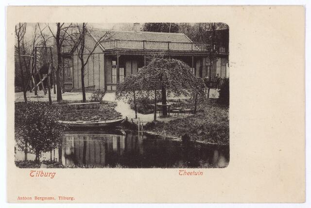 001487 - De theetuin op Koningshoeven reeds genoemd in 1880 trok zeer veel bezoekers. In 1917 is er zelfs sprake van 1500 bezoekers per dag. Vooral bij de fabrikanten was de theetuin in trek om er feestelijke gebeurtenissen te vieren met hun personeel. Zo werd de bruiloft van Fred Mutsaerts, firmant van Frans Mutsaerts & Zn. voor het personeel gevierd in de theetuin. In 1892 vond er een groot luchtvaartfeest plaats, waarbij de ballon 'Koningin Wilhelmina' werd opgelaten en de heer Matelot zou dalen 'per miniatuur parachute'. Zeven jaar later vond er opnieuw een luchtvaartfeest plaats: toegang slechts 6 cent en een glas bier gratis. Helaas waren de banken en stoelen in de theetuin pas geverfd en nog niet droog, zodat veel bezoekers pas naar huis durfden te gaan toen het donker was. Door de eigenaar, J. Bierings, was in 1905 in de theetuin ook een wielerbaan aangelegd van 300 meter. Vanaf 1911 werd de theetuin, die toen de naam 'Flora' kreeg, geexploiteerd door de heren F.A.A. van Es en J.H. Otte. Zes jaar later werden theehuis en tuin geheel gerenoveerd.