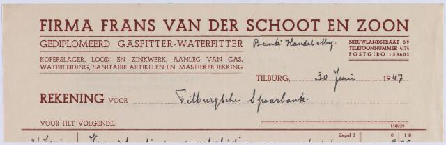 061053 - Briefhoofd. Nota van Firma Frans van der Schoot en Zoon, gediplomeerd gasfitter-waterfitter, Nieuwlandstraat 39 voor de Tilburgsche Spaarbank