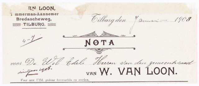 060598 - Briefhoofd. Nota van W. van Loon, Timmerman-aannemer, Bredaseweg , voor de gemeente Tilburg